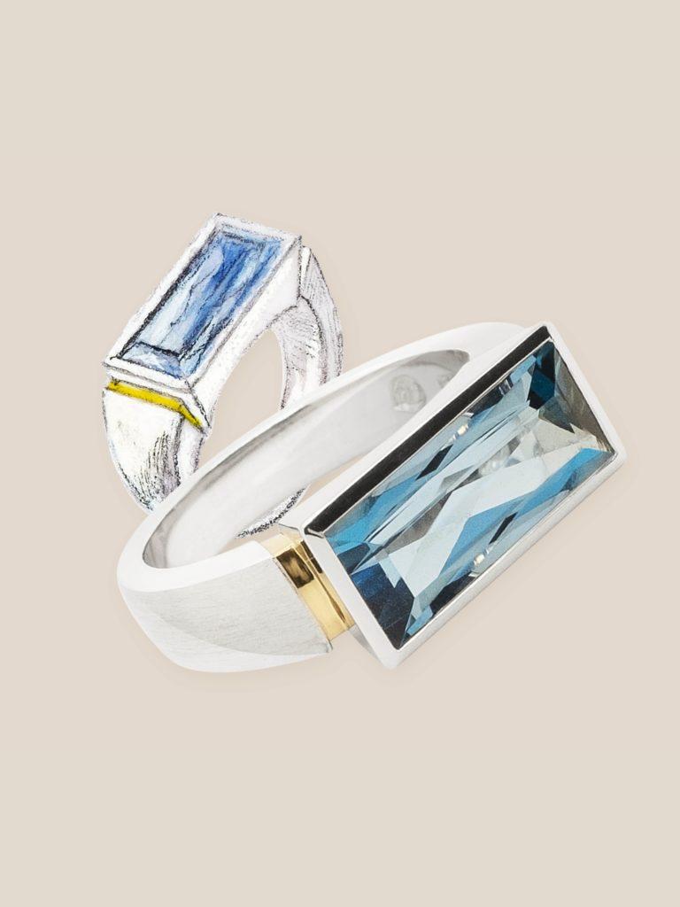 Aquamarin Ring: Skizze und Foto