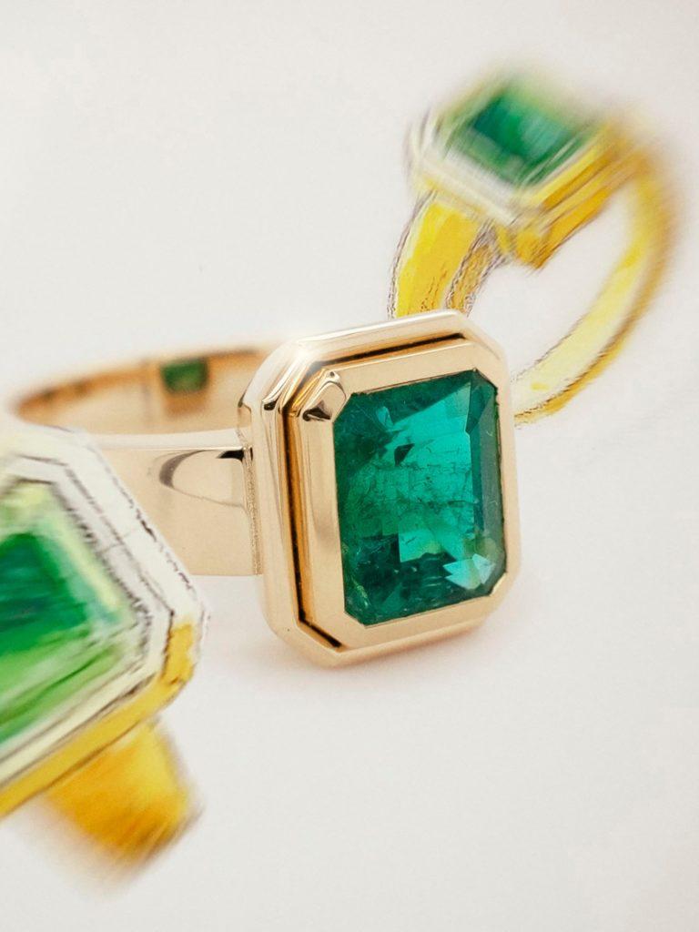 Skizze und Foto Smaragd Ring